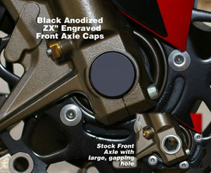 Billet Front Axle Cover Kit Black Anodized ZX Engraved | ID 938